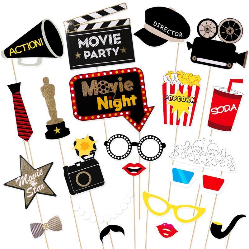 21pcs Hollywood Style de masque photo Party Props Bachelorette Party Décor de mariage Mustache Birthday Party Supplies