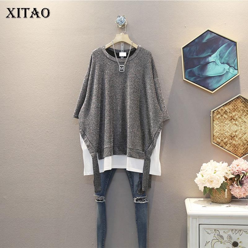 Xitao Plus Size Hit Patchwork couleur T-shirt Tide Faux Deux Pièces Femmes Vêtements 2020 Été New Pull Tee DMY4898 match Tous