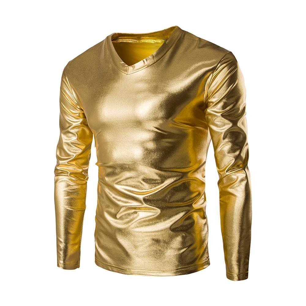 Mens en cuir verni à manches longues T-shirt Nightclub style métallique brillant Hip Hop Pull T-shirt d'or de cool couché Tops Camiseta