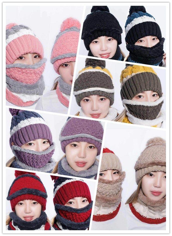 Nouveau hiver chapeau de chapeau de chapeau de babine de babine trois pièces plus épaississement velours coiffe coiffe mignonne cheveux boule de cheveux mignons jxw460
