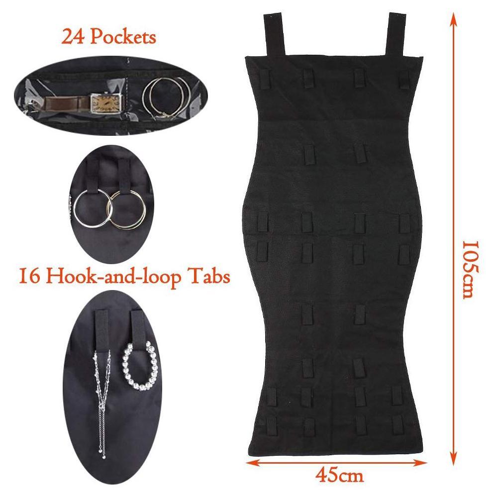 Black Hanging Jewelry Organizer 24 Pockets /& 16 Hook-and-Loop Tabs Dual Sided Closet Organizers Earrings Bracelet Necklace Socks Pantyhose Storage Display Bag