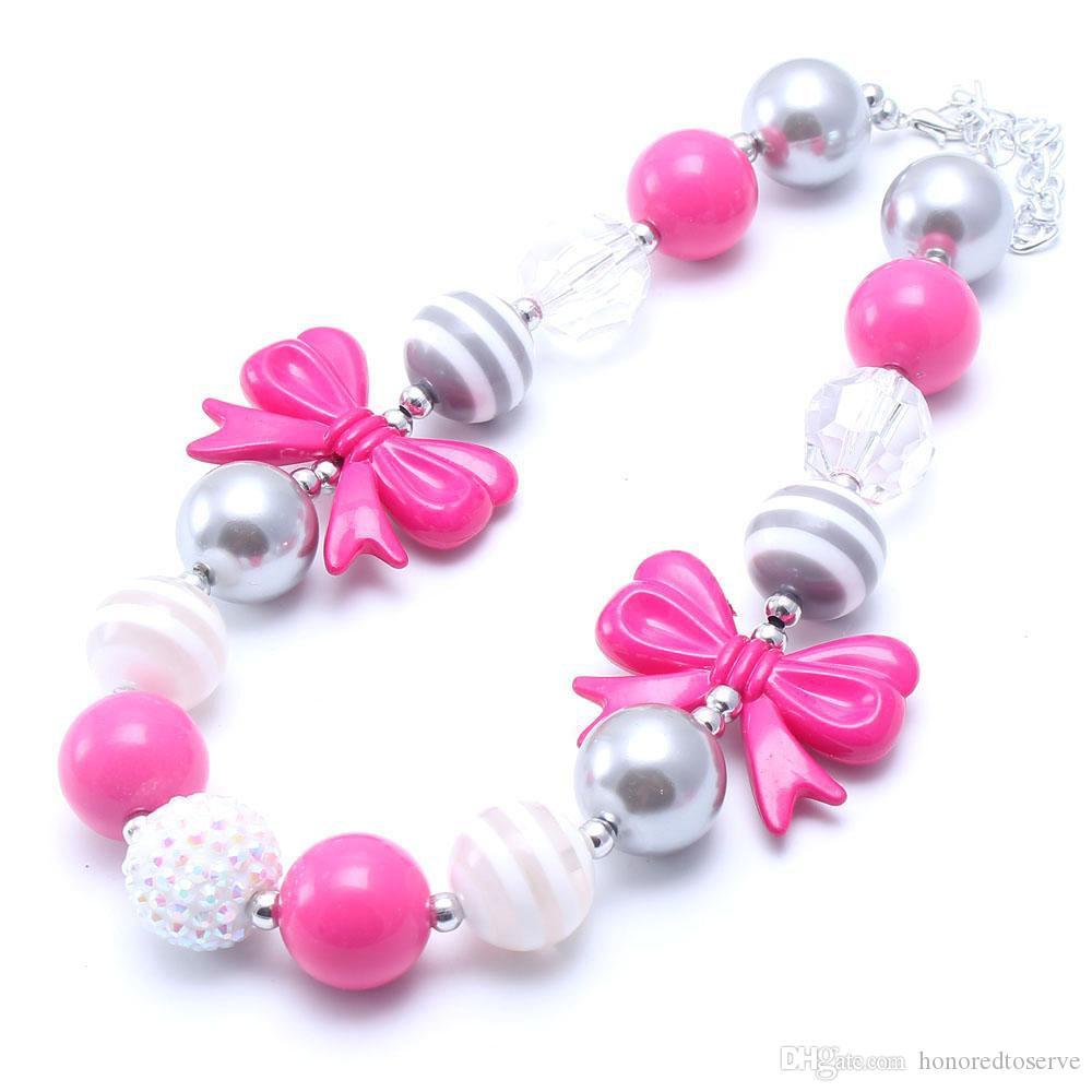 De las rosas fuertes perlas arco collar fornido Kid + Silver Fashion Color Bubblegum del grano collar fornido joyas de los niños para las muchachas del niño