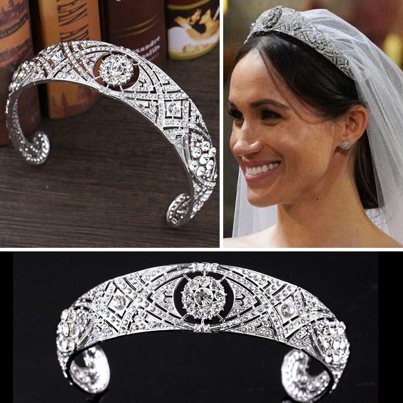 Gelin Taçlar Lüks Avusturyalı Kristaller CZ Meghan Prenses Düğün Gelin Tiara Taç Saç Aksesuarları Gelin Gümüş Kafa Moda Takı