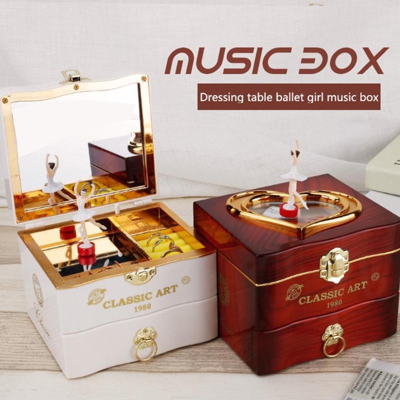 الكلاسيكية الدوارة راقصة الباليه موسيقى بيانو صندوق مجوهرات البرتقالة البلاستيك صناديق ديكور المنزل عيد ميلاد فتاة عيد الحب هدية