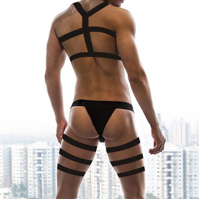 Erkekler seksi kostümleri koşum kayışları iç çamaşırı esaret iç çamaşırı uzun bacak kemer külot erkek elastik erotik fetiş kostüm hombre gece clubwear set