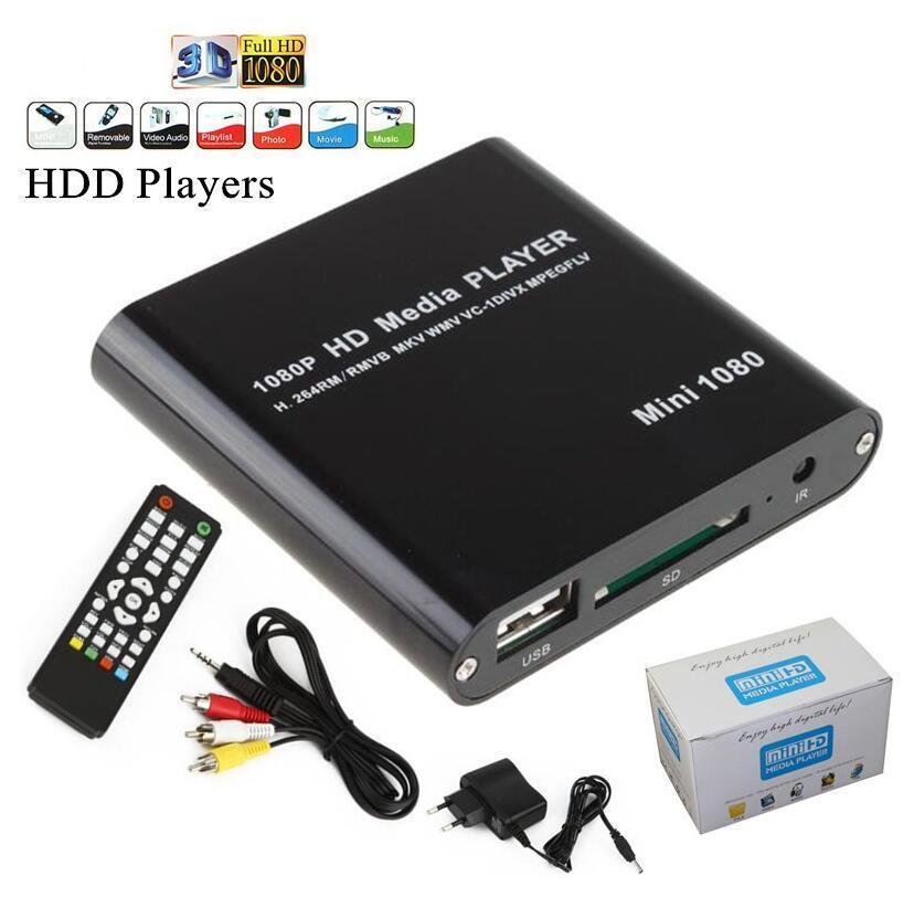HDD مشغل الوسائط المتعددة عالي الوضوح 1080p USB الخارجية ميديا بلاير مع HDMI SD TV وسائل الإعلام صندوق دعم MKV H.264 RMVB HDD لاعب