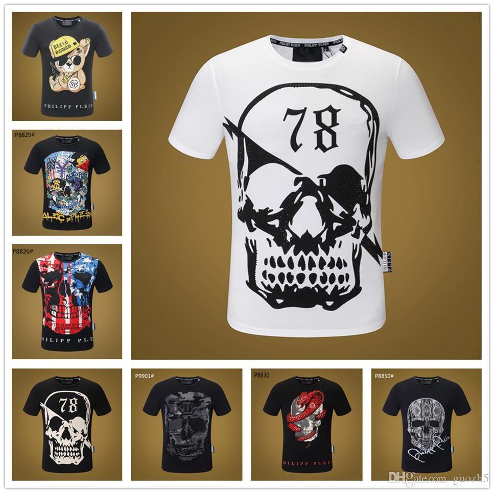 18SS 믹스 22 모델 하라주쿠 펑크 캐주얼 t 셔츠 남성 tshirt 스컬 프린트 T 셔츠 패션 티셔츠 탑스 참신한 외국인