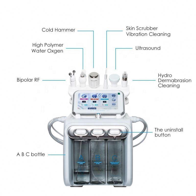 6 en 1 máquina facial de oxígeno de agua para la limpieza profunda exfoliante piel blanqueamiento anti-acné lifting facial hidratante machineDHL / UPS