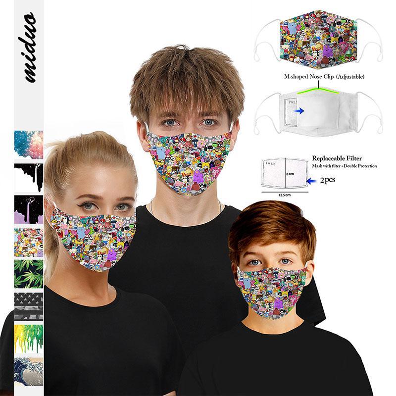 Nuovo 3D digitale stampata maschera respirabile anti-polvere per bambini e adulti contengono chip filtro trasporto libero maschera protettiva