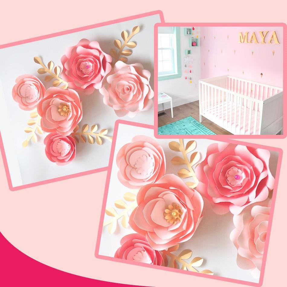 Rose Fai Da Te acquista cartoncino fatto a mano rosa fai da te fiori di carta foglie set  eventi fondali di nozze decorazioni vivaio parete deco video tutorial a  9,87