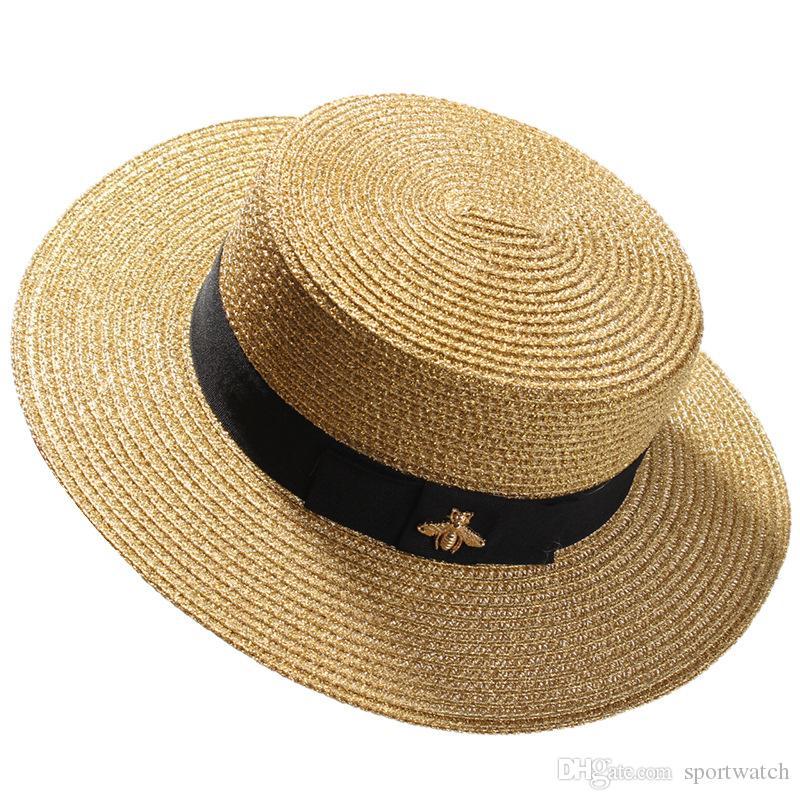 짠 넓은 챙 모자 골드 금속 꿀 패션 넓은 짚 모자 부모 - 자식 평면 탑 바이저 짠 밀 짚 모자