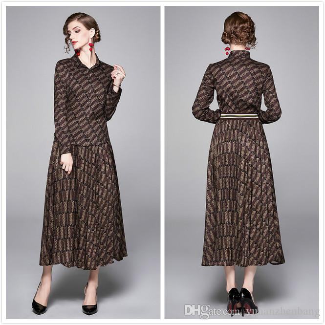 2020 활주로 여성 우아한 두 조각 세트 문자 인쇄 긴 소매 셔츠 + 스커트 정장 드레스 슬림 플러스 사이즈 여성의 디자이너 두 조각 드레스
