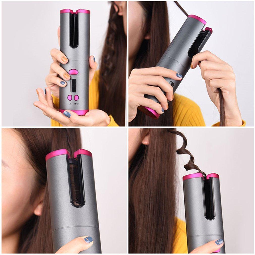 لاسلكي الشعر بكرة الشعر التلقائي الضفر الحديد 6 درجة الحرارة قابل للتعديل سريع التدفئة السيراميك العرض LCD W / الموقت USB مجانا قابلة للشحن