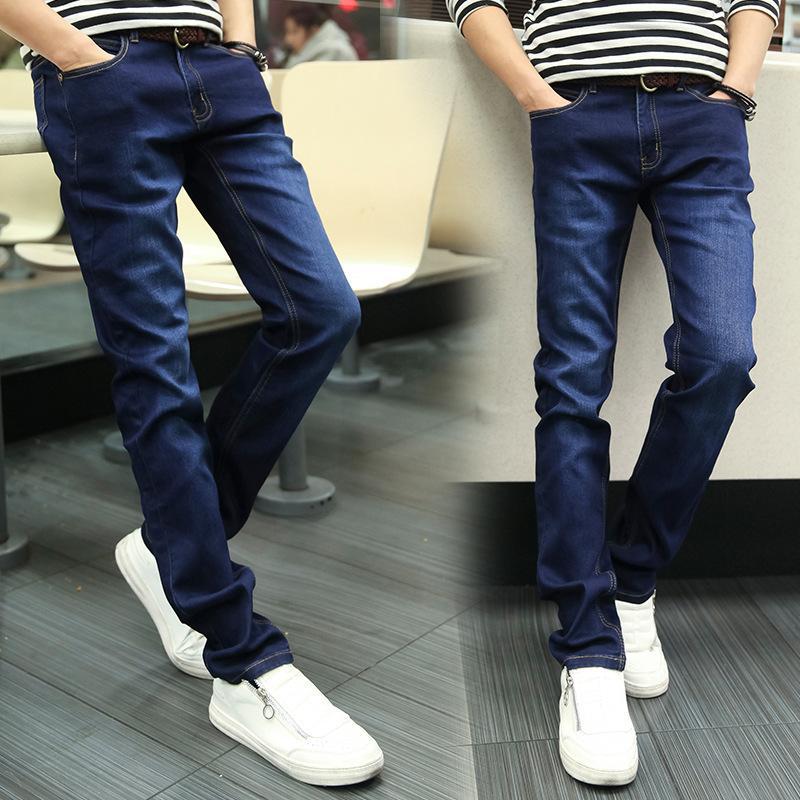 Style Classique Hommes Mince Jeans Elastic Force Slim Fit Marque Crayon Solide Pantalon Bleu Bleu Pantalon Automne 2019