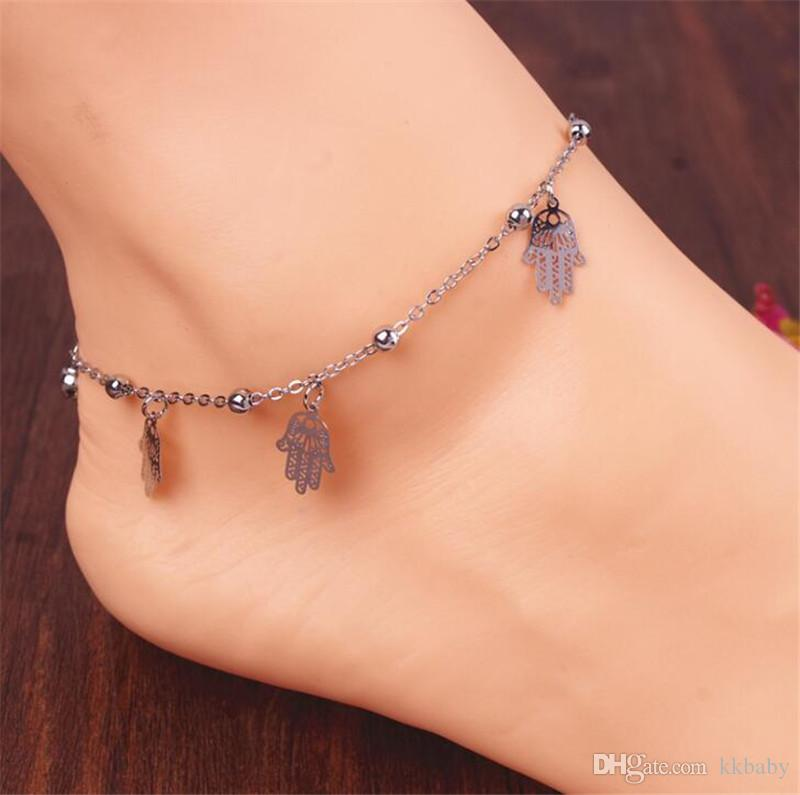 New Hand Metal Ball Anklet Bracelet Jewelry Tiny Bell Pattern Foot Chain Link Hamsa Hand Necklace Hand Of Fatima Pendant Amulet Evil Eye