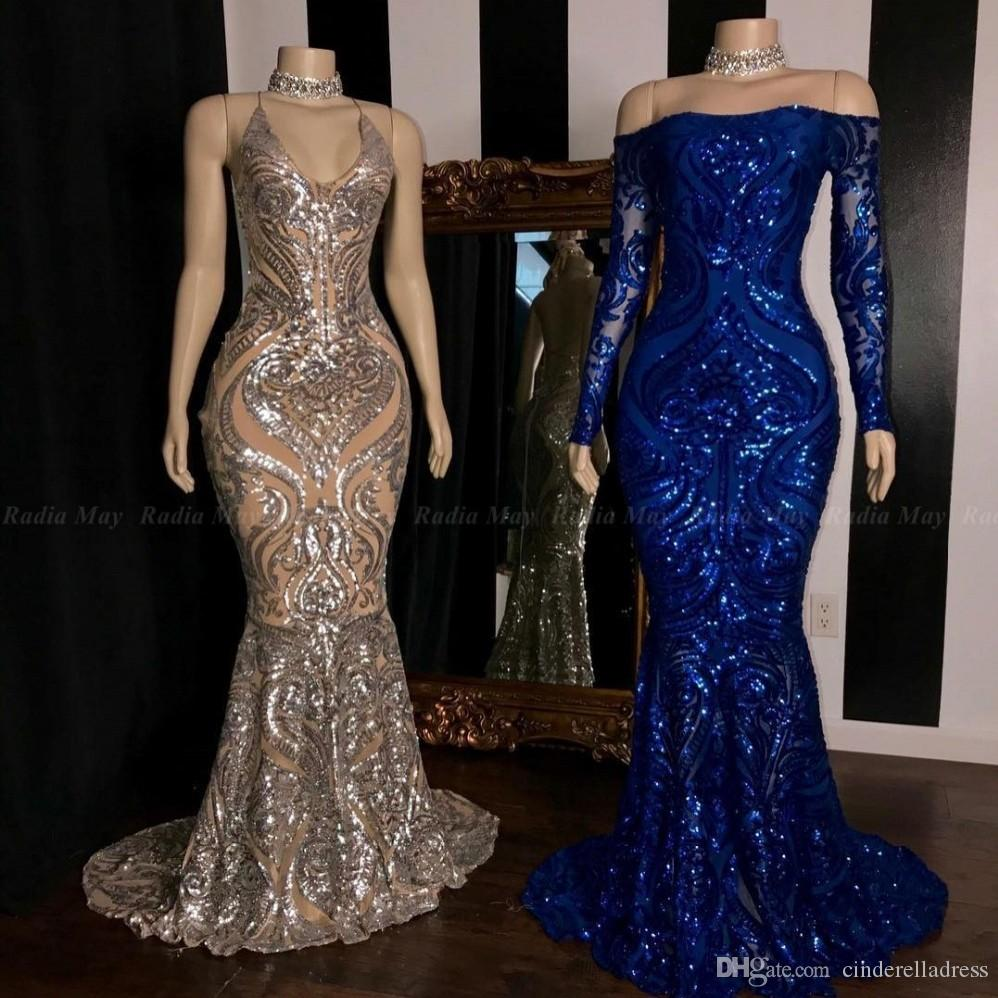 Sparkly Arabic Sequined Mermaid African Prom Dresses 2020 Royal Blue Long Sleeve Formal Plus Size Evening Reflective Gowns
