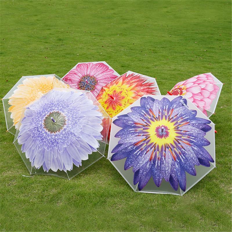 Children's umbrella with long handle Small fresh sunshade Both rain and sunshine transparent umbrella stick umbrella 10pcs T1I1919
