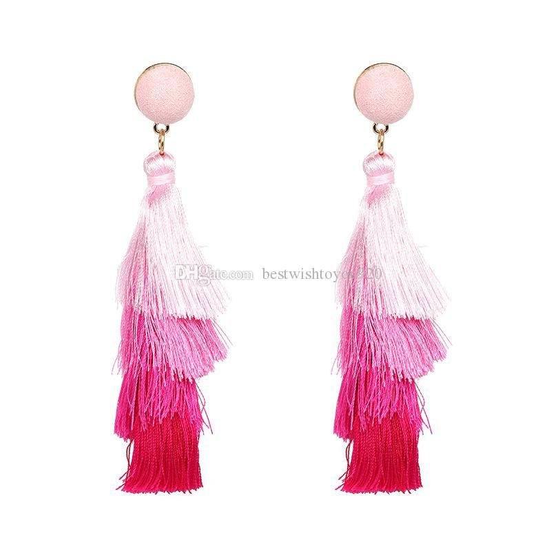 Summer Bohemian Style Big Long Multi-color Statement Tassel Earrings For Women 4 Layered Fringe Long Dangling Tiered Thread Earrings