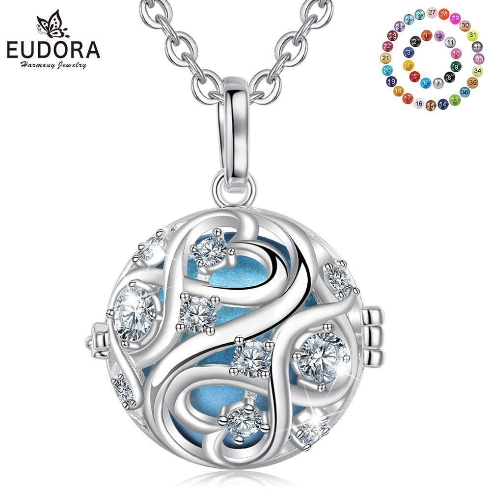 EUDORA 20 мм уникальный кристалл клетка гармония мяч музыкальный кулон Ангел звонящий ожерелье с бесконечным узлом для беременности ювелирные изделия K363