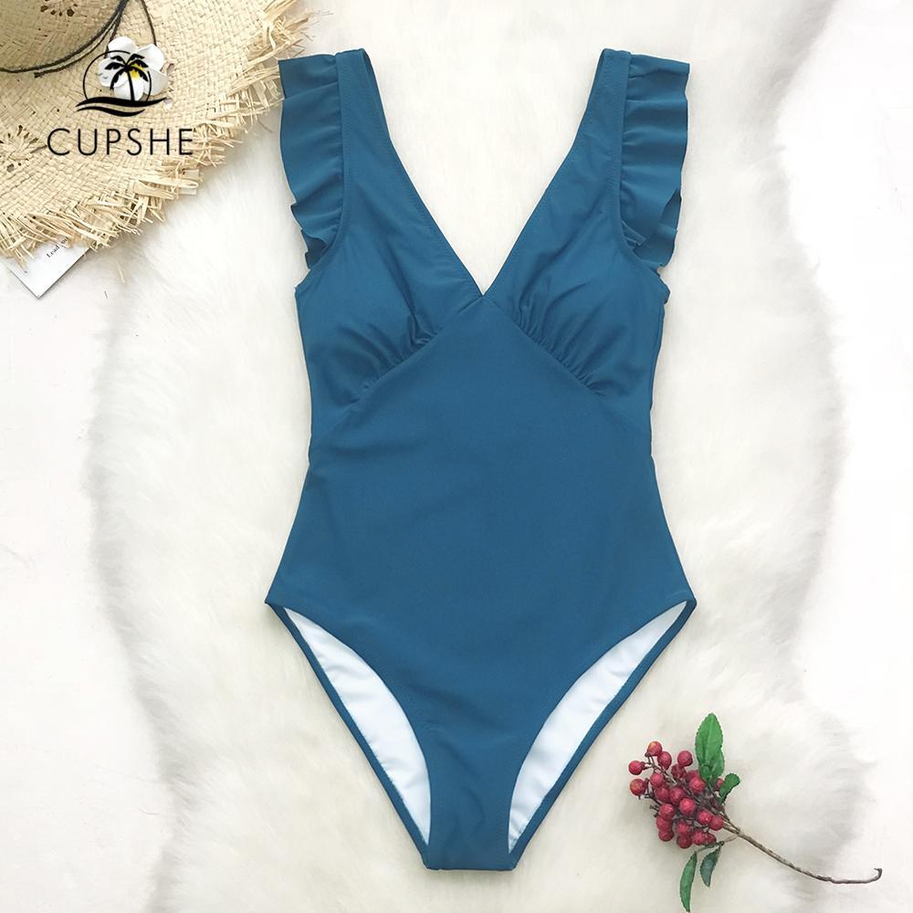 Yeşil Teal Katı Tek Parça Mayo Kadınlar fırfır Dantelli tek parça bikini 2020 Kız Plaj Yıkanma Suits Dalma