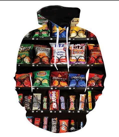 Новая мода Мужчины Женщины Ams торговый автомат закуски смешные 3d толстовки толстовки Осень Зима повседневная печать с капюшоном пуловеры топы WR0101