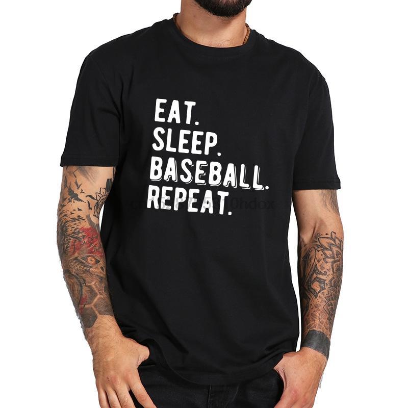 Uyku Beyzbol Tee Gömlek Homme O-boyun Moda Pamuk Kısa Gömlek Erkekler Sokak Stili Komik tişört tekrarlayın yiyin