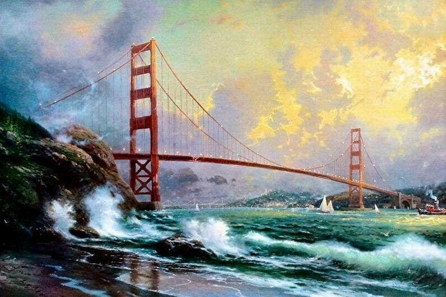 a143 # Thomas Kinkade Golden Gate Bridge in San Francisco Home Decor Handbemalte HD-Druck Ölgemälde auf Leinwand-Wand-Kunst Bilder 200130