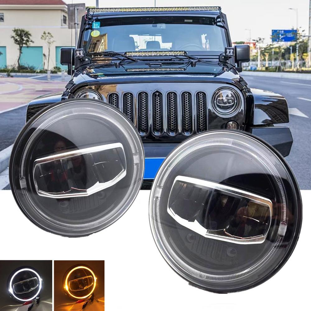 Nuova auto LED 7 pollice Arrotolo rotondo DRL DRL Signal Segnale Alone Fari per Jeep Wrangler JK TJ CJ Hummer Lada Niva 4x4 Steplamps