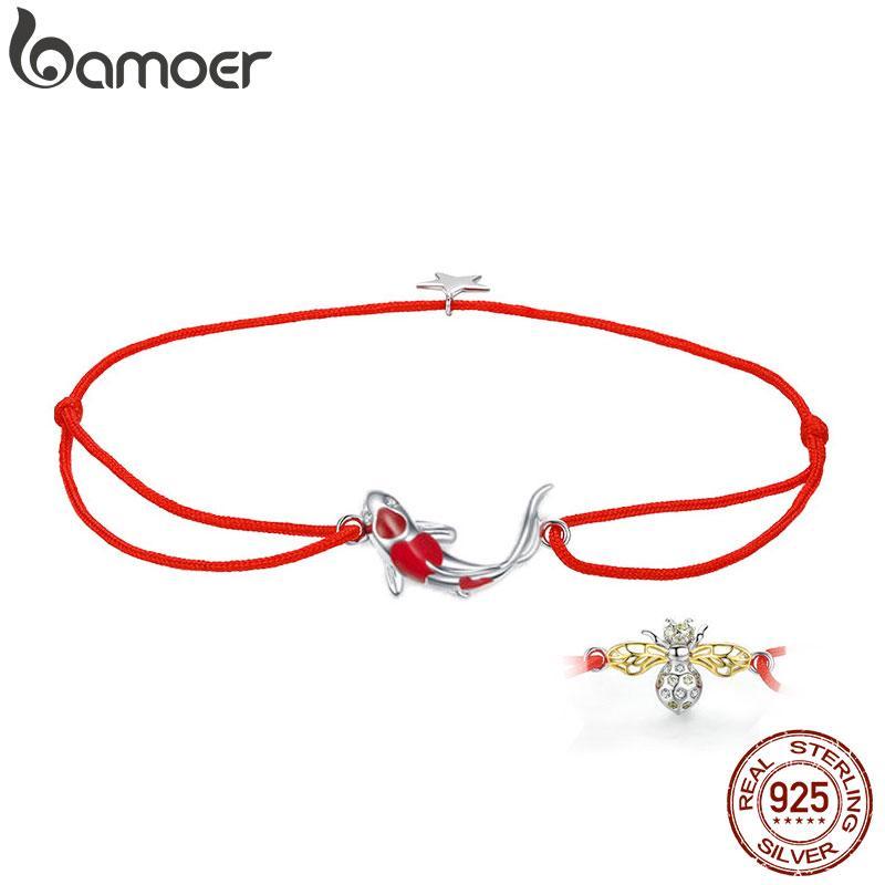 bamoer Guardian повезло рыбы веревка браслет-цепочка для пары стерлингового серебра 925 Звезда эмаль ювелирные изделия браслеты дружбы SCB145