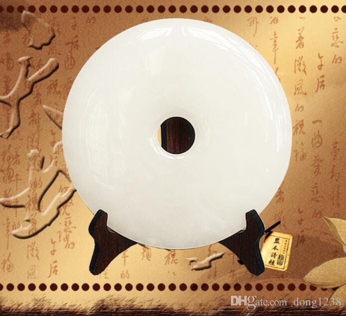 Jade branco chinês Ping Jade ornamentos de paz Home Mobiliário Doméstico ornamentos de jóias