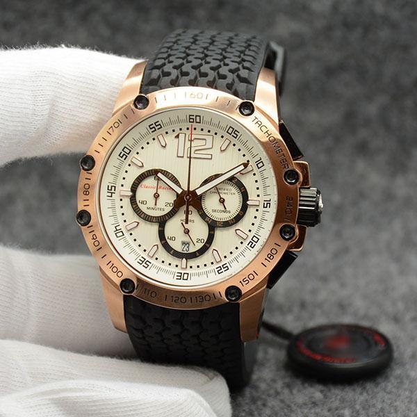 무료 배송 남성 손목 시계 45.5 미리 메터 석영 크로노 초고속 화이트 다이얼 고무 스트랩 남성 시계 시계 스테인레스 스틸 골드 케이스