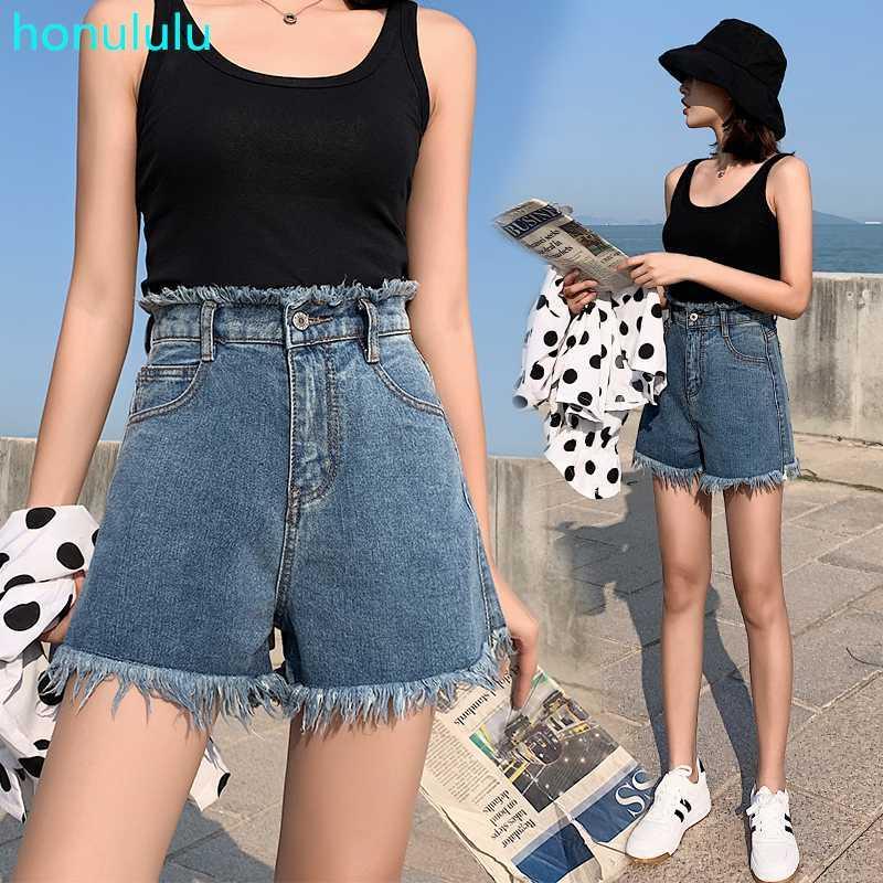 Summer Wear versão coreana do estudante solta shorts jeans perna larga malha calça jeans de cintura alta vermelho de flash hot pants das mulheres