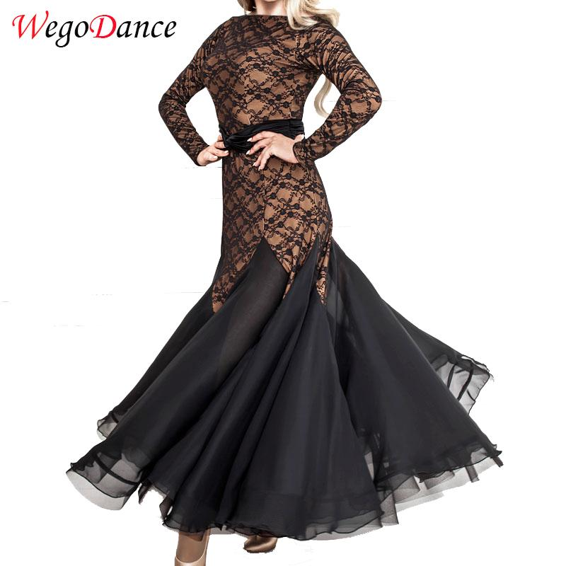 Custom Hot Sale Women Ballroom Dancing Long-sleeve Dress Lace Mesh Large Bandage Dress