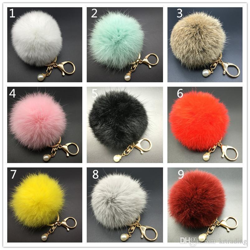 Anello portachiavi con pompon capelli 8cm coniglio 17 colori simpatici gioielli coniglietto per signora della signora Furry balls big pelus pomnpons decoration