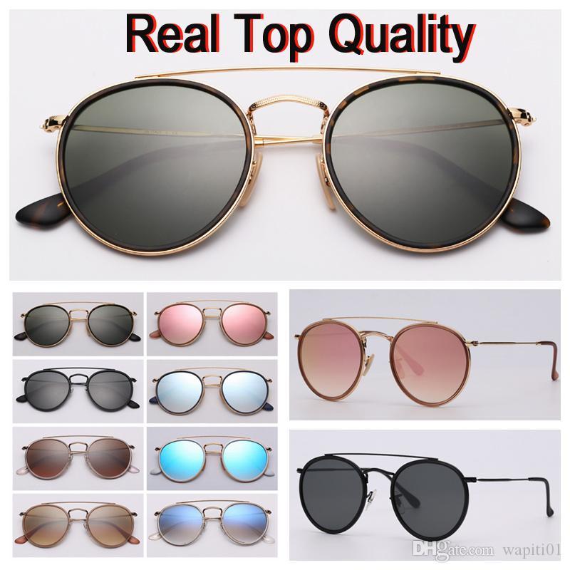 Rund Doppel-Brücke Modell Sonnenbrille Art und Weise echten Top-Qualität Frauen Männer Sonnenbrille mit schwarzem oder braunem Ledertasche und Kleinpaket!