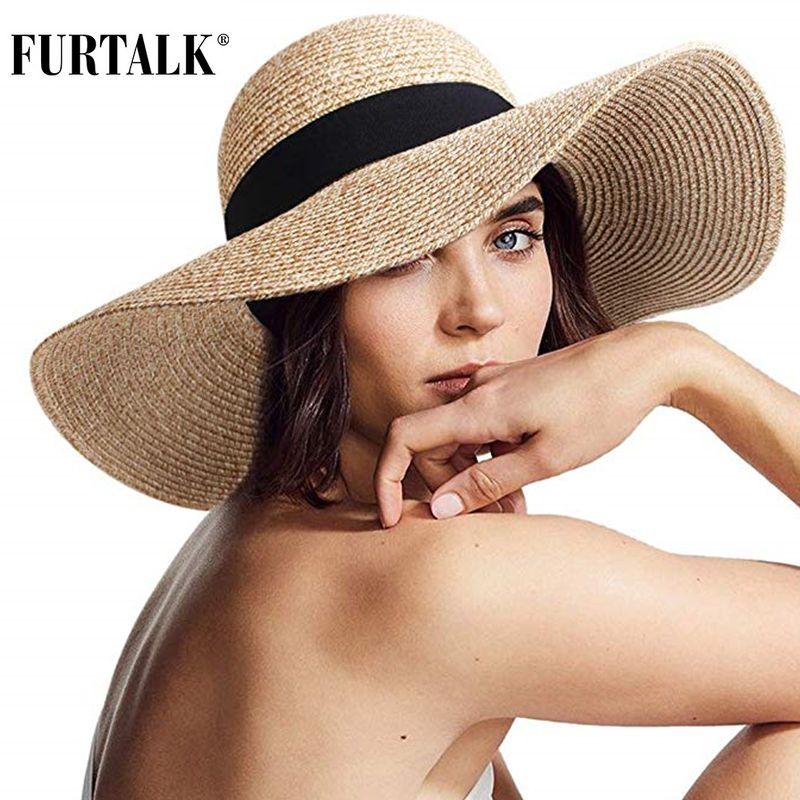 FURTALK Summer Beach Hat Women Large Straw Hat Big Brim Sun Hats UV Protection Foldable Roll Up Floppy Cap chapeu feminino 2020 T200602