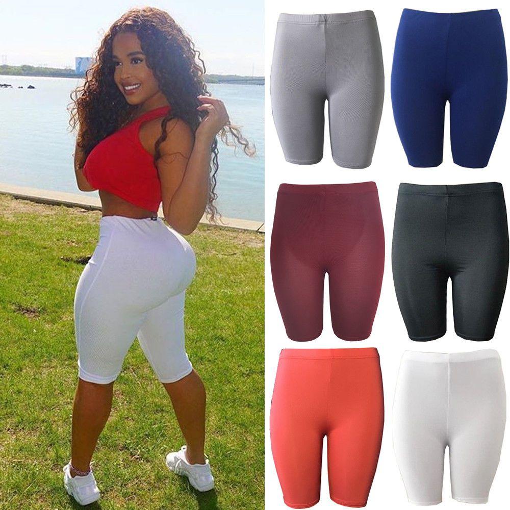 Hirigin Femmes Sport Fitness Shorts demi-taille haute étudiant Plage Skinny court Femmes Fitness élastique Shorts