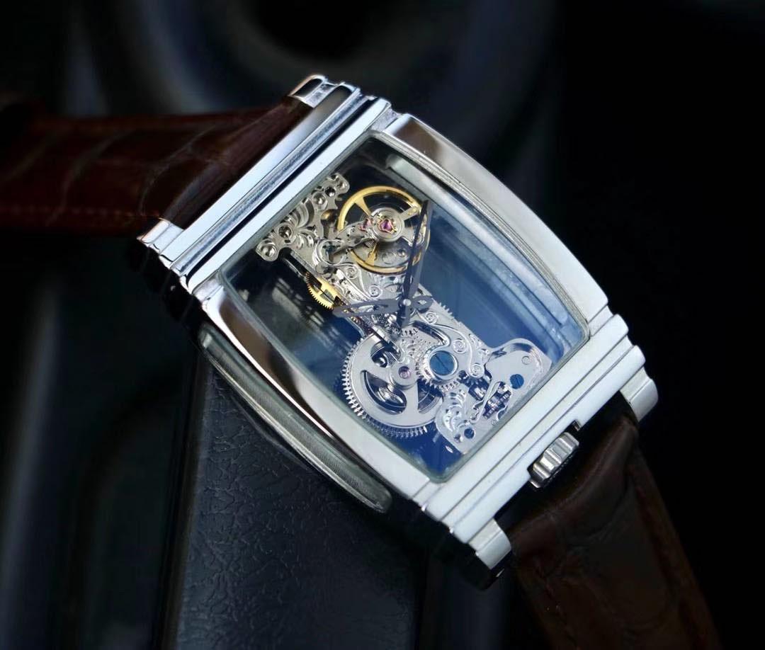 Nuovo orologio Unisex Two-Pin Scheletro a due lati Penetrating Watch Watch 316 Cassa in acciaio inox Strisce Movimento meccanico inciso