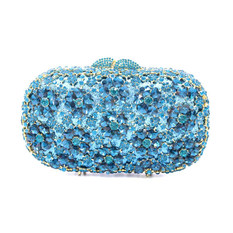 Xiyuan Shinning Metal Hueco Regalo Bolsas de caja de regalo Cristal Bolsa de noche Bolsas de embrague Bolso nupcial Body Party Grabches Crystal Blue
