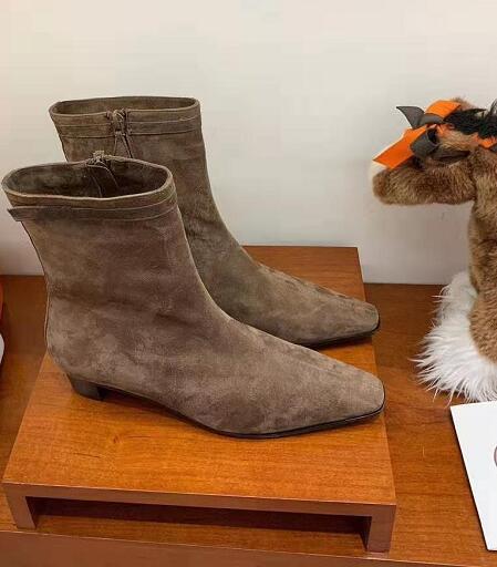 Kadın Paris Gerçek Deri Ayak bileği Boots Her Moda Tasarımı Podyum Yeni Sürüm Kare Ayak Yan Zip Süet Patik Ayakkabı