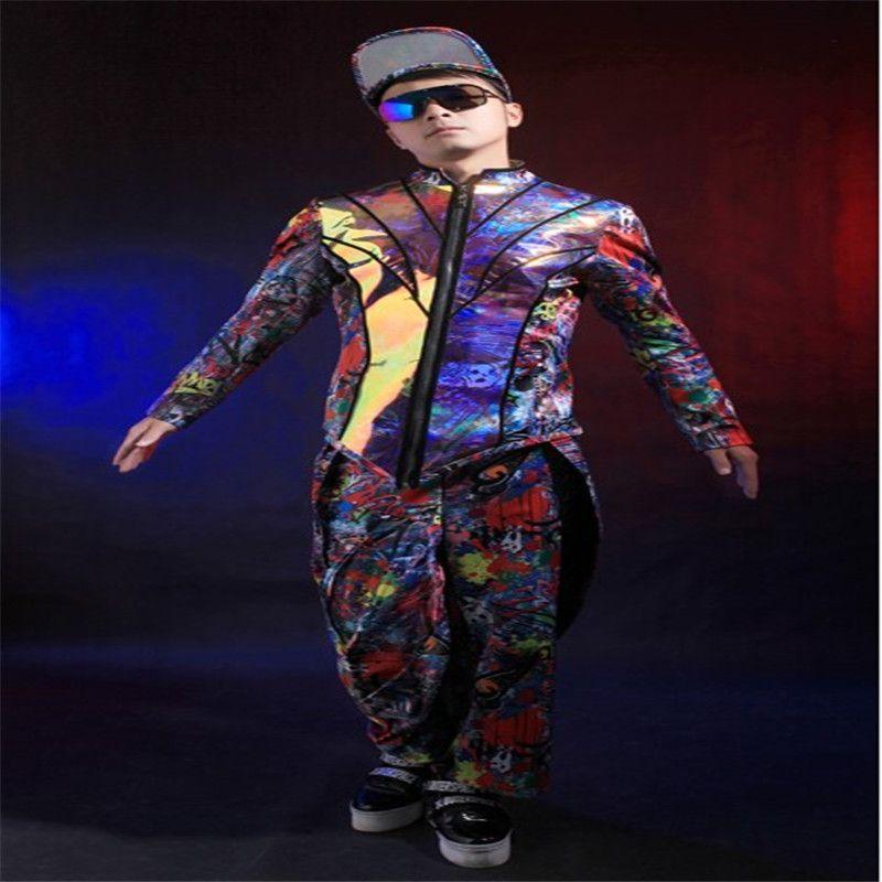 Z59 homens palco veste dj cantor jaqueta de salão de baile trajes de dança partido desempenho calças terno de hip hop anfitrião vestir masculino vestido de disco show de vestidos