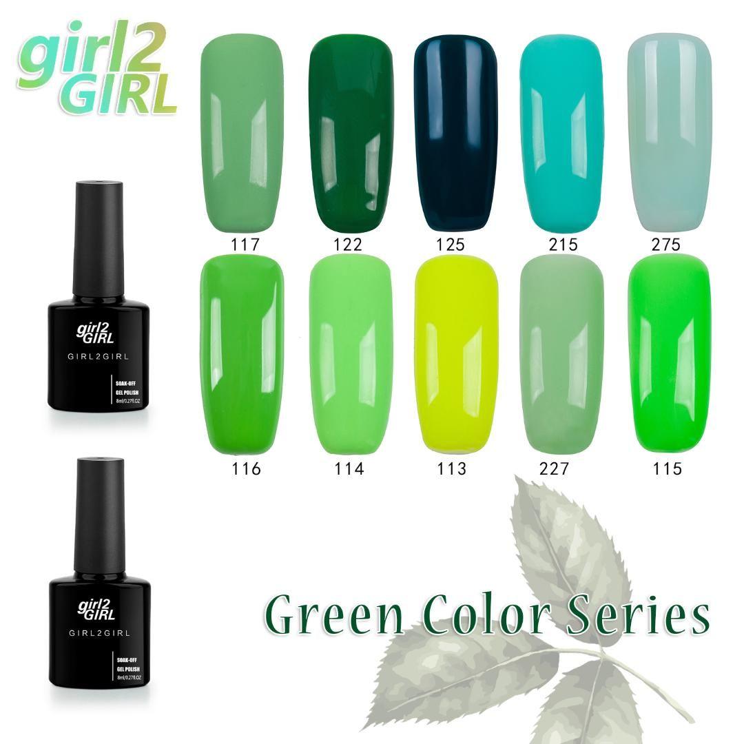 girl2GIRL Gel UV LED laca polonês longo Últimas Soak Off Manicure 8ml brilhando 280 Cores Super unhas de gel conjunto VERDE Polish