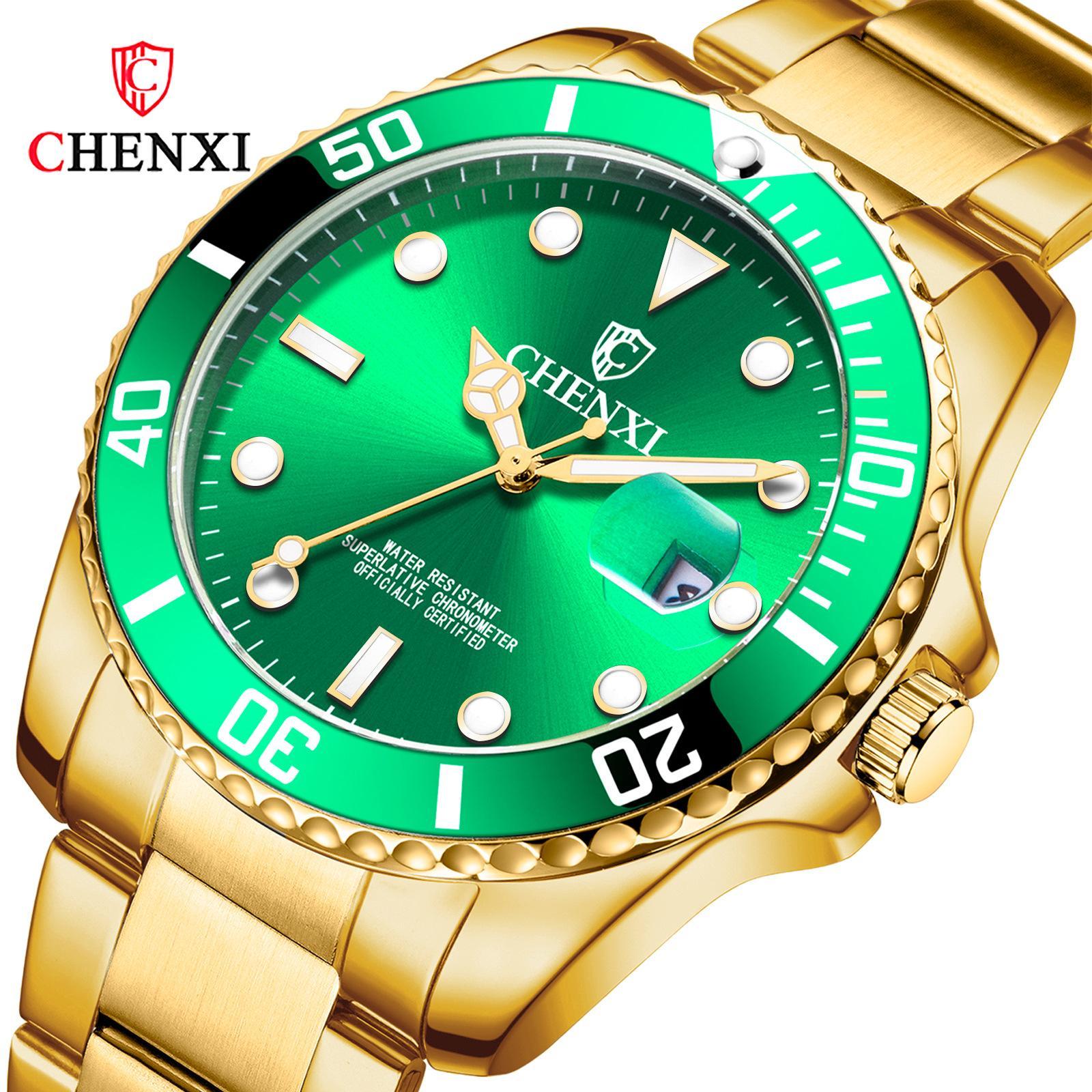 Bütün altın Chenxi marka çift izle 085a izlemek kuvars Yeni Yeşilsu hayalet izle su geçirmez takvim