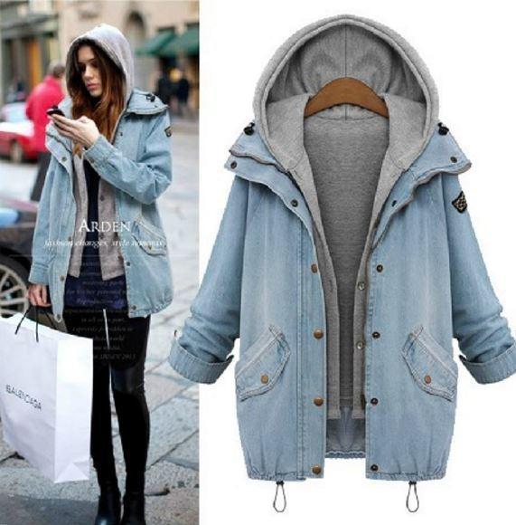 Atacado- mulher Starlist Causal Jean Jackets soltas Denim Jackets Dois Pcs Set Windbreaker Jeans Hoodie Plus Size Moda Azul Outwear