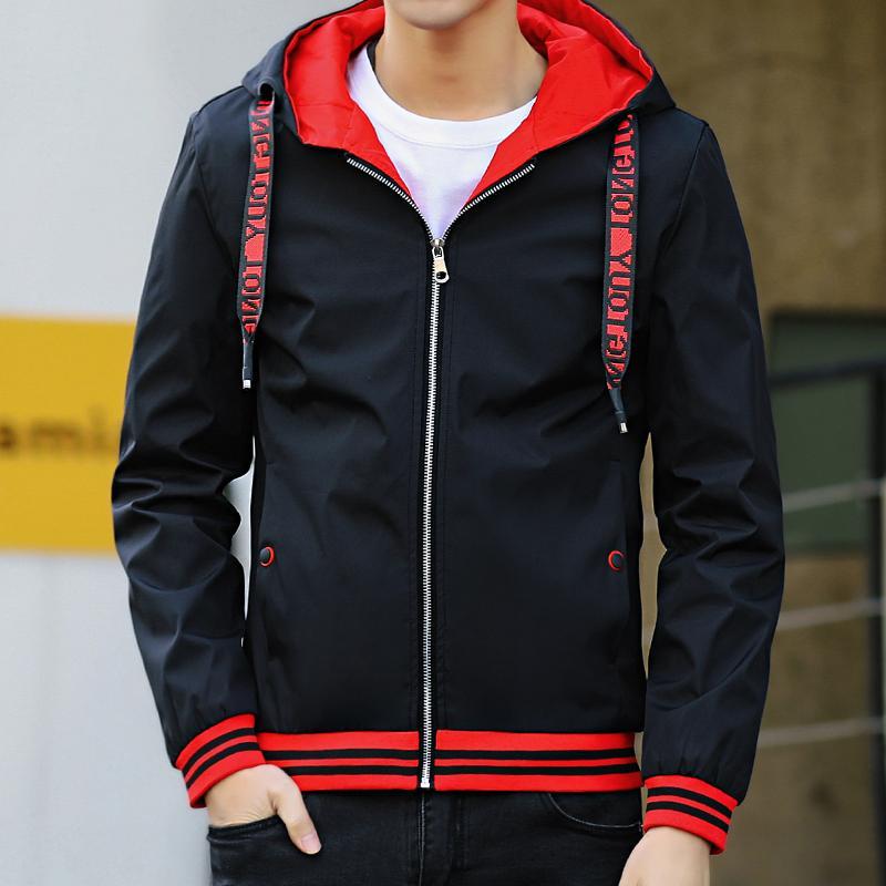 봄 가을 얇은 윈드 브레이커 남성 코트 jaqueta masculina 슬림 맞는 젊은 남성 후드를 들어 포트 더블 사이드 폭격기 재킷