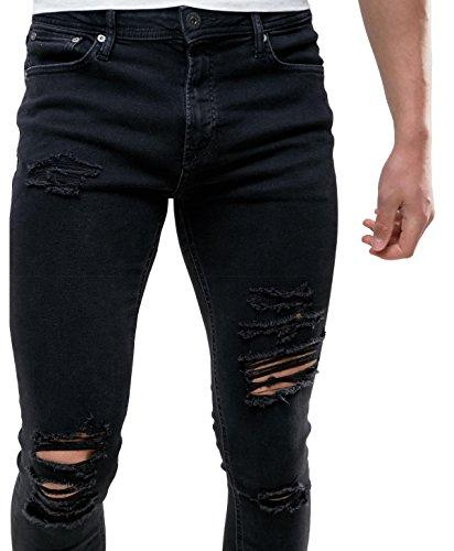 2b4356e9f75 2019 Sarriben Men'S Stretch Fashion Skinny Slim Fit Jeans Ripped Black  Denim Pants From Wayoff, $39.74 | DHgate.Com