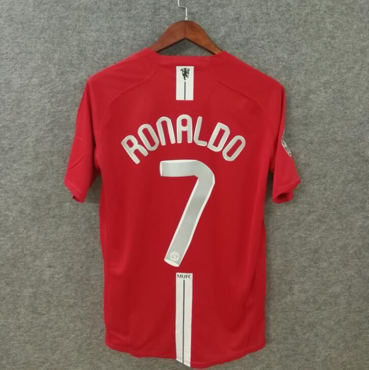 retrò maglia da calcio Manchester 2007 2008 MU FINALE MOSCA Utd magliette da calcio numero Abbigliamento da calcio di alta qualità nome personalizzato Ronaldo 7