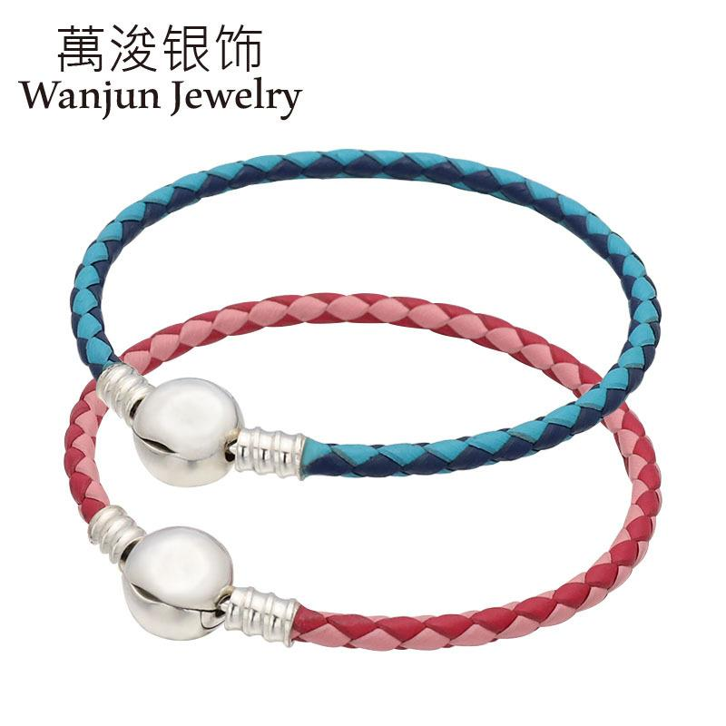 Wanjun joyería 100% de la cuerda de cuero con letras 925Sterling Cabeza del color del doble bucle simple que teje fabricantes al por mayor de