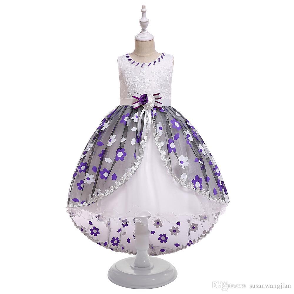 Rosa azul púrpura princesa bomba bordada larga flor vestido arrastrando para niña anfitrión traje 5 años 6 años