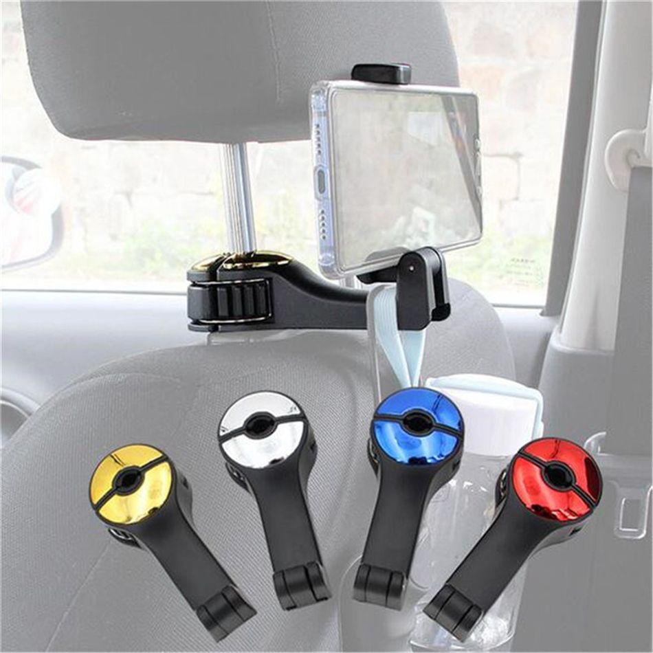 Car Back Seat Gancho Auto Encostos Hanger Hook bolsa saco titular Organizador Car Phone Holder Stand For 4-6 polegadas Moblie telefone Monte